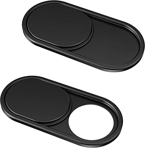CloudValley Webcam Cover Slide[2-Pack], 0.023 Inch Ultra-Thin Metal Web Camera Cover for MacBook Pro, iMac, Laptop, PC, iPad Pro, iPhone 8/7/6 Plus, Protect Your Visual Prvacy [Black]