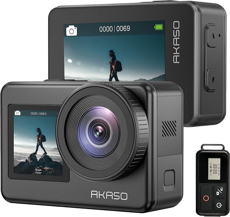 AKASO Action Cam 4K 30FPS Impermeabile Subacquea, WiFi Sports Cam Doppio Display Ultra HD 20MP, Action Camera Controllo Vocale 170° Grandangolare con 2x1350mAh Batterie e Kits di Accessori, Brave 7