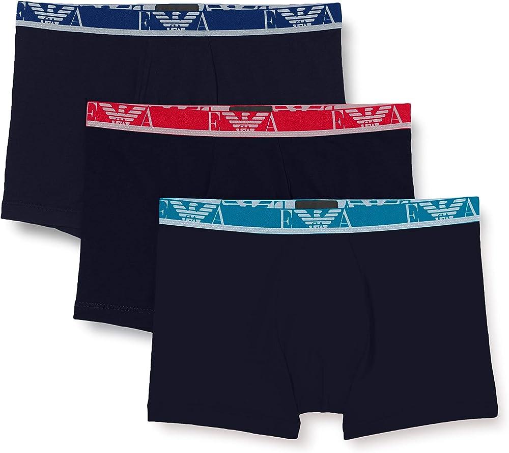 Emporio armani,3 paia di mutandine boxer per uomo, 95% cotone, 5% elastan, brv 1114731P71575735