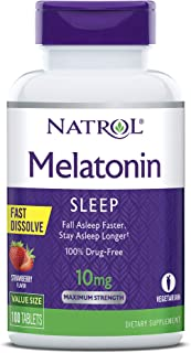 Natrol Melatonin Fast Dissolve Tablets, Helps You Fall Asleep Faster, Stay Asleep Longer, Easy to Take, Dissolves in Mouth, Faster Absorption, Maximum Strength, Strawberry Flavor, 10mg, 100Count