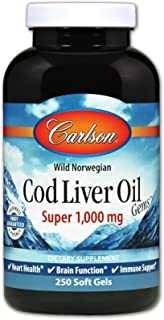 Best Carlson - Cod Liver Oil Gems, Super 1000 mg, 250 mg Omega-3s + Vitamins A & D3, Wild-Caught Norwegian Arctic Cod-Liver Oil, Sustainably Sourced Nordic Fish Oil Capsules, 250 Softgels Review