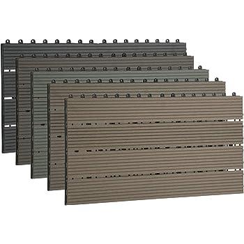 EUGAD 12x Suelo de Exterior WPC 30x60cm Terrazas del Piso 12 Set 2? Baldosas de Madera para Jardin, Terraza Gris: Amazon.es: Bricolaje y herramientas