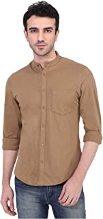 Risque Men's Knitted Cotton Solid Full Sleeve Casual Shirt