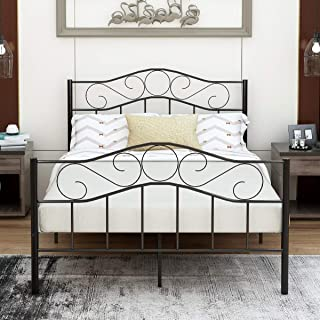 Victorian Vintage Style Platform Metal Bed Frame Foundation Headboard Footboard Heavy Duty Steel Slabs Queen Full Twin Vintage Black Finish (Full)