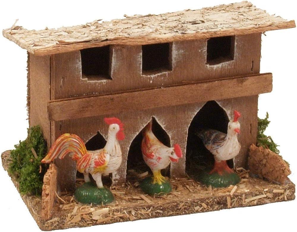 Ferrari & arrighetti,pollaio con galline,paesaggio del presepe 497G