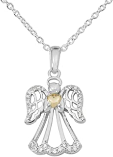 Two Tone Sterling Silver Cubic Zirconia Angel and Heart Pendant Necklace, 18""