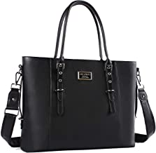 MOSISO PU Leather Laptop Tote Bag for Women (Up to 17.3 inch), Black