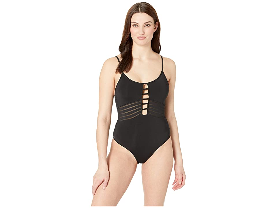 JETS SWIMWEAR AUSTRALIA Parallels Tank One-Piece (Black) Women's Swimsuits One Piece