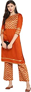 Janasya Women's Orange Foil Print Kurta With Pant