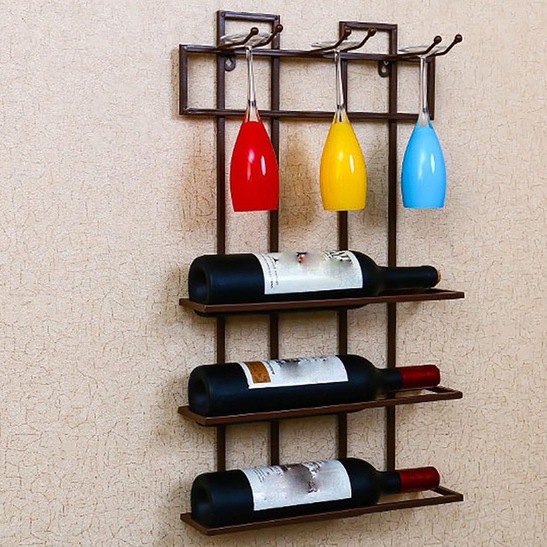 QFFL jiujia Wine Rack Wall-Mounted Wine Rack Living Room Decorative Wine Rack Tall Glass Holder 60  35CM (color   Bronze)