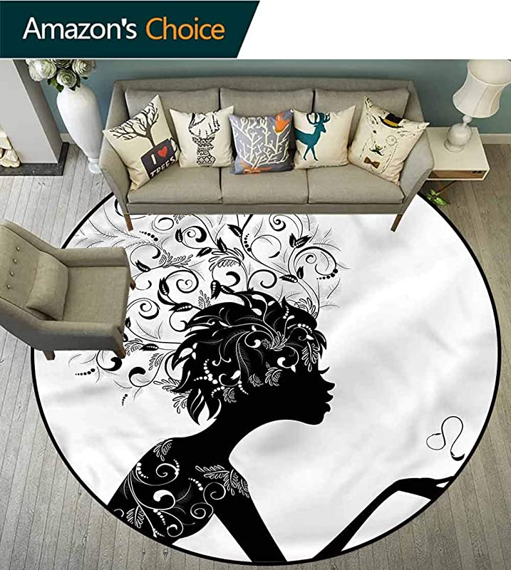 RUGSMAT Zodiac Leo Non Slip Area Rug Pad Round Woman Silhouette Swirls Foam Mat Bedroom Decor Bedroom Diameter 71
