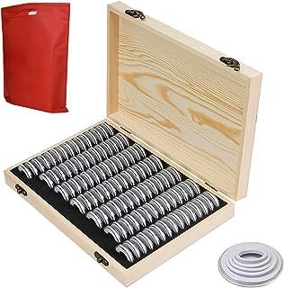OUZHOU Myntförvaringsbox, 100 st myntförvaringslåda trä mynthållare fodral med runda mynt kapslar plast mynt organiserare ...