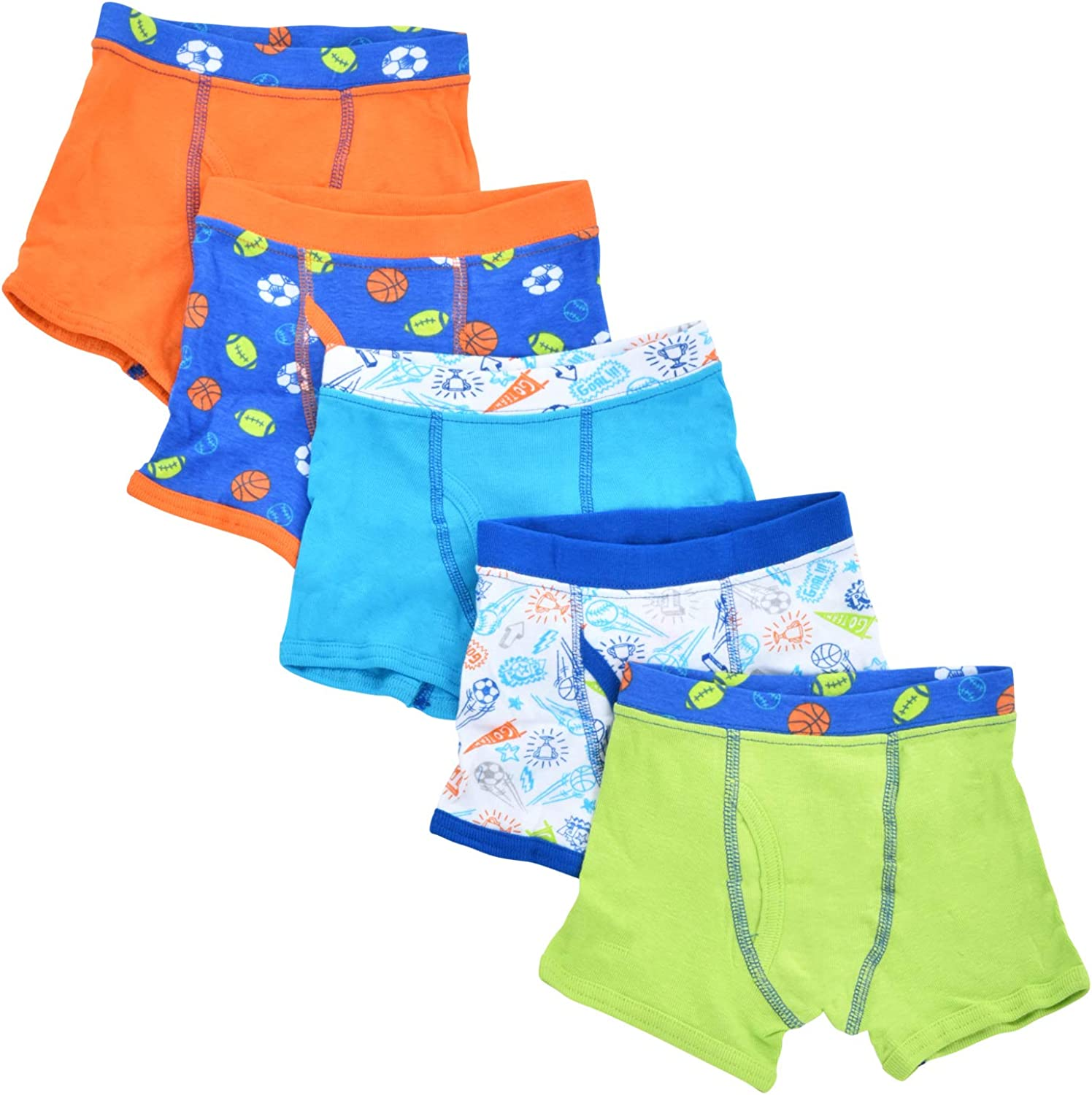 5 Pack Boys Toddler Boxer Brief Cotton Tag-Free