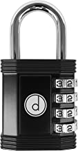 Padlock - 4 Digit Combination Lock for Gym, Sports, School & Employee Locker, Outdoor, Fence, Hasp and Storage - All Weather Metal & Steel - Easy to Set Your Own Keyless Resettable Combo - Black