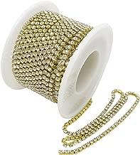 Honbay 11 Yard Crystal Rhinestone Close Chain Clear Trim Sewing Craft 2.5mm Gold