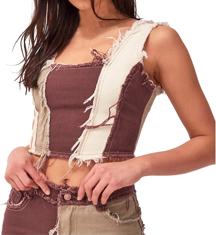 Large Size Ladies Suspenders Hit Low Vests Stitching Denim Cropped Retro Vests Fashion Slim Vests Casual Tops Short Vest