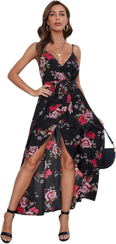 Floerns Women's Floral Print V Neck Sleeveless Split Belted Summer Maxi Dress