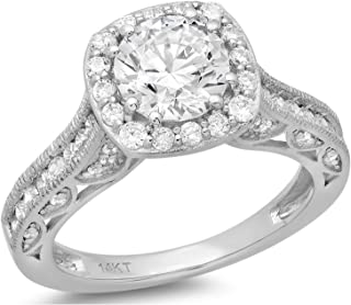 1.90 CT Round Cut Simulated Diamond CZ Pave Halo Wedding Bridal Engagement Ring Band 14k White Gold