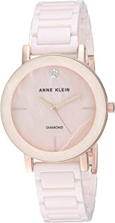 Anne Klein Women's AK/3364NVRG Diamond-Accented Rose Gold-Tone