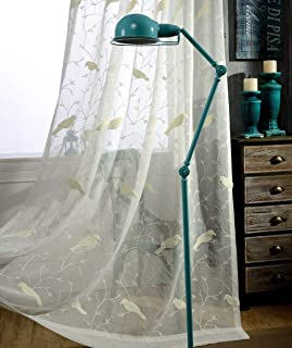 AliFish 1 Panel Birds and Trees Embroidered Decorative Sheer Curtains Home Fashion Window Traetment Elegant Country Style Voile Yarn Gauze Drape Panels for Kids Room Living Room W39 x L84 inch