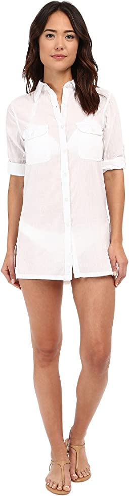 Crushed Cotton Camp Shirt Cover-Up