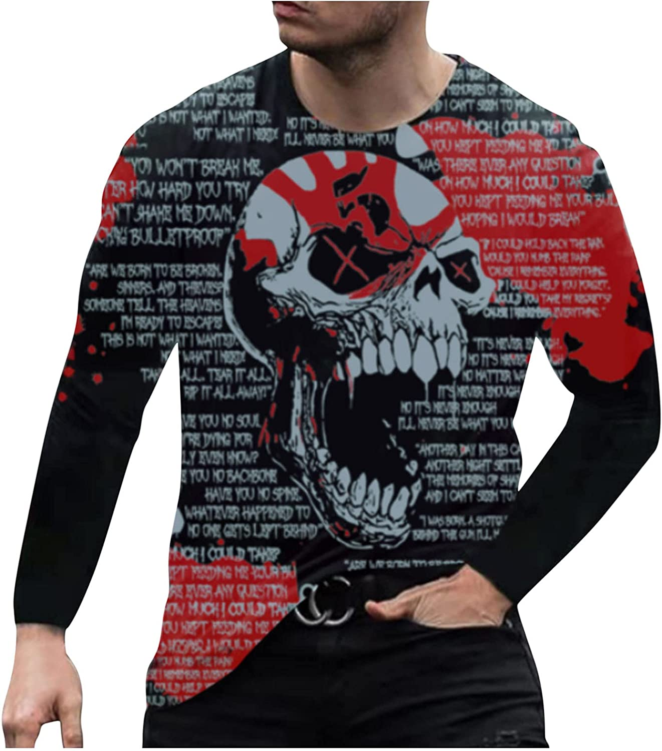 Graphic T-Shirt for Mens Lightweight Casual Long Sleeve Baseball Cotton Tee Fashion Crewneck Gym Workout Tops Shirts