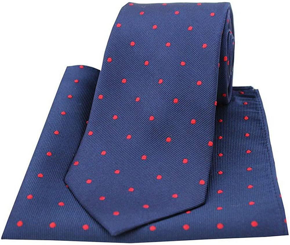 David Van Hagen Mens Polka Dot Tie and Pocket Square Set - Navy/Red