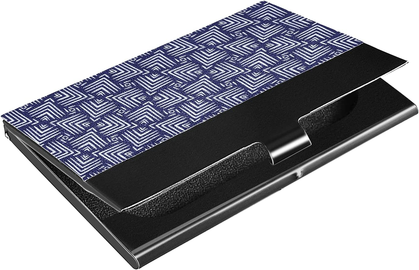 OTVEE Navy Blue Woven Business Card Holder Wallet Stainless Steel & Leather Pocket Business Card Case Organizer Slim Name Card ID Card Holders Credit Card Wallet Carrier Purse for Women Men