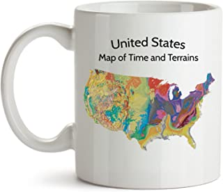 Unique Gift Coffee Mug, United States Map of Geologic Time and Terrains