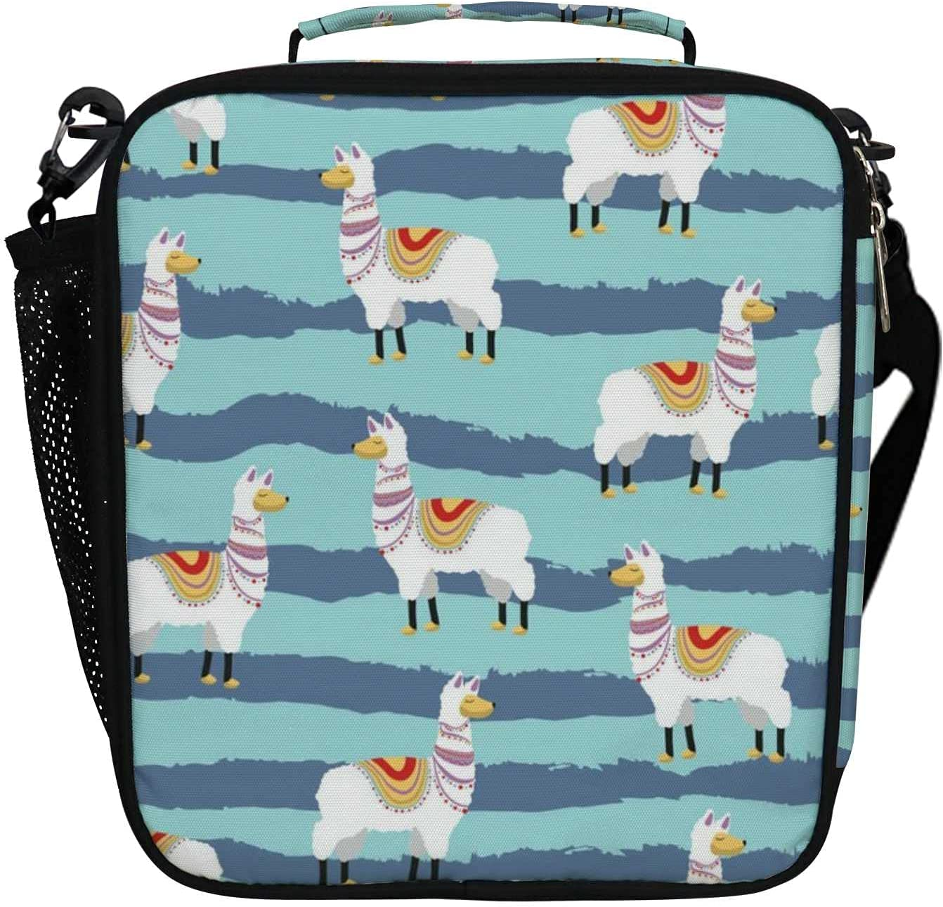 Alpaca Animals Blue Stripes 25% OFF Insulated Tote Milwaukee Mall Bags Lun Cooler Lunch