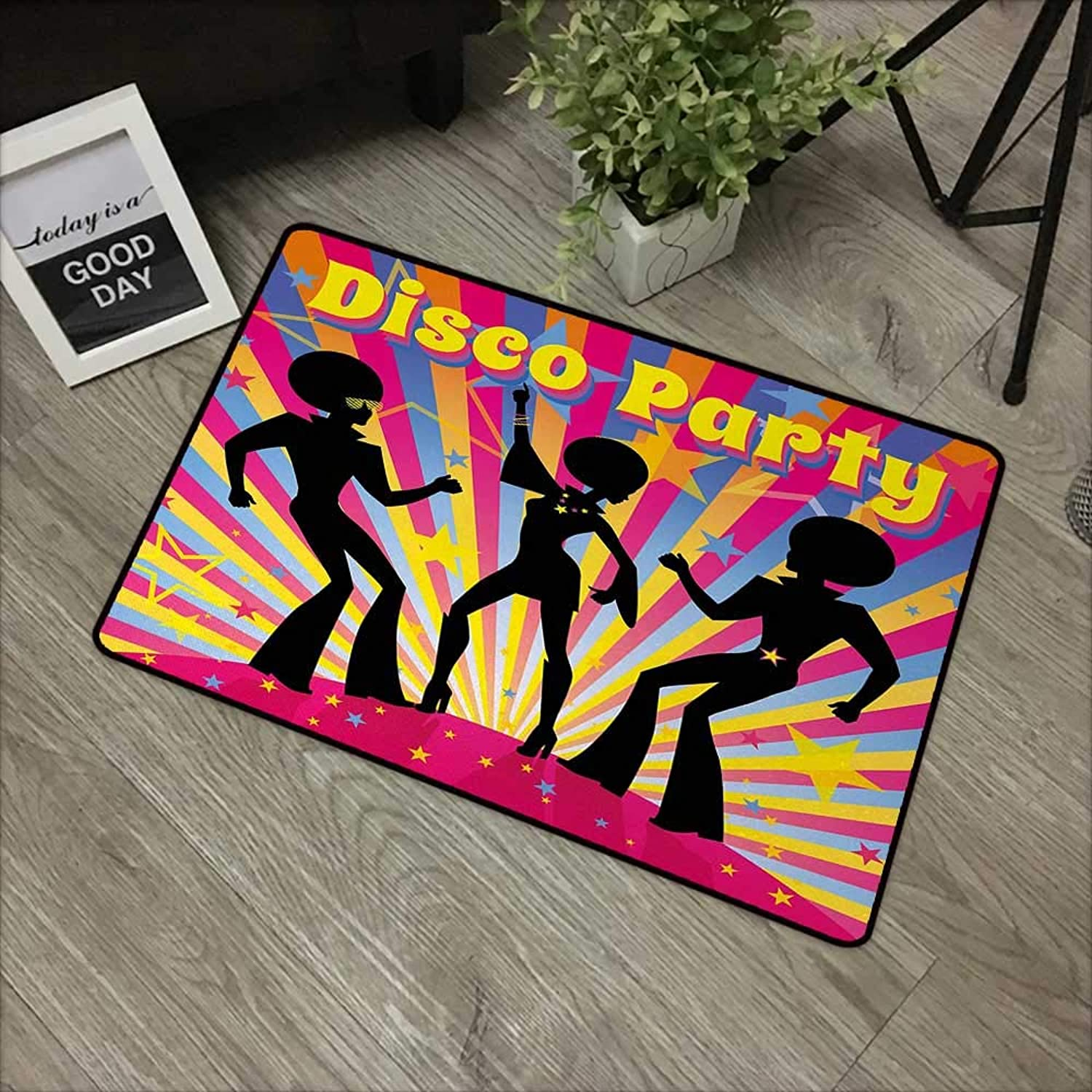Square Door mat W35 x L59 INCH 70s Party,Dancing People Silhouettes with Afro Hair Disco Party and Funky Display Print,Multicolor Non-Slip Door Mat Carpet