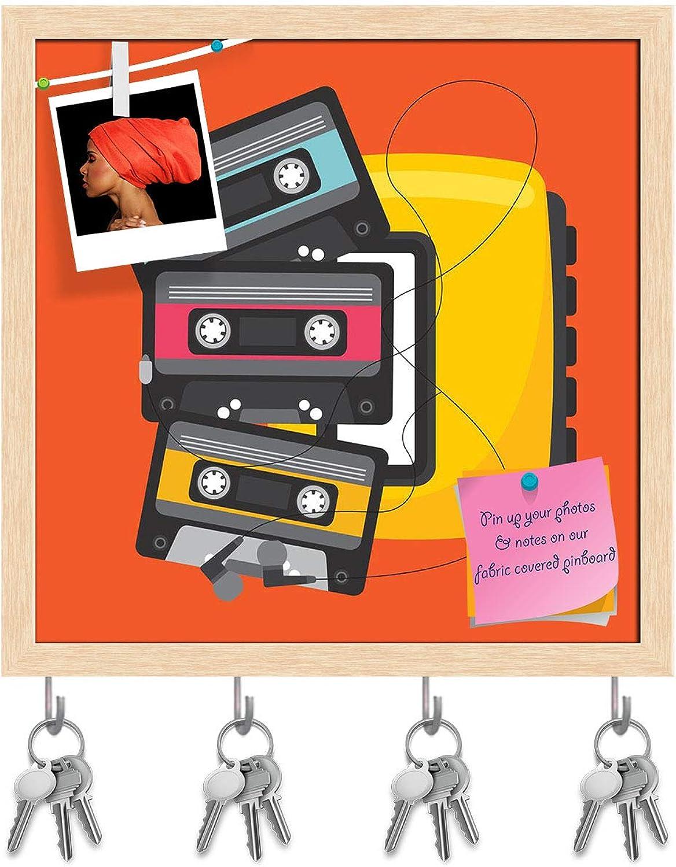 Artzfolio Music Concept Design D13 Key Holder Hooks   Notice Pin Board   Natural Brown Frame 16 X 16Inch