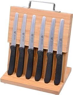 GRÄWE Magnet-Messerhalter Bambus mit Brötchenmessern schwarz