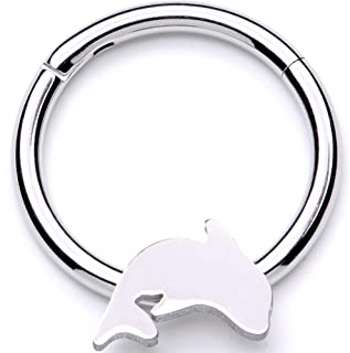 Body Candy 16G 316L Steel Hinged Segment Ring Seamless Cartilage Nipple Ring Dolphin Nose Hoops 3/8