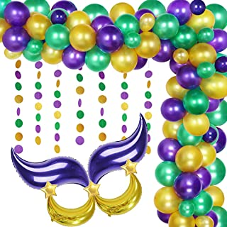 Mardi Gras dekorationer lila grön guld ballong girlang båge kit mask ballonger för Mardi Gras feta tisdag karneval festtil...
