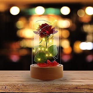 Asommet - Luz LED de seda roja con rotación automática con pétalos caídos en cúpula de cristal sobre base de madera para decoración del hogar, fiestas, bodas y aniversarios