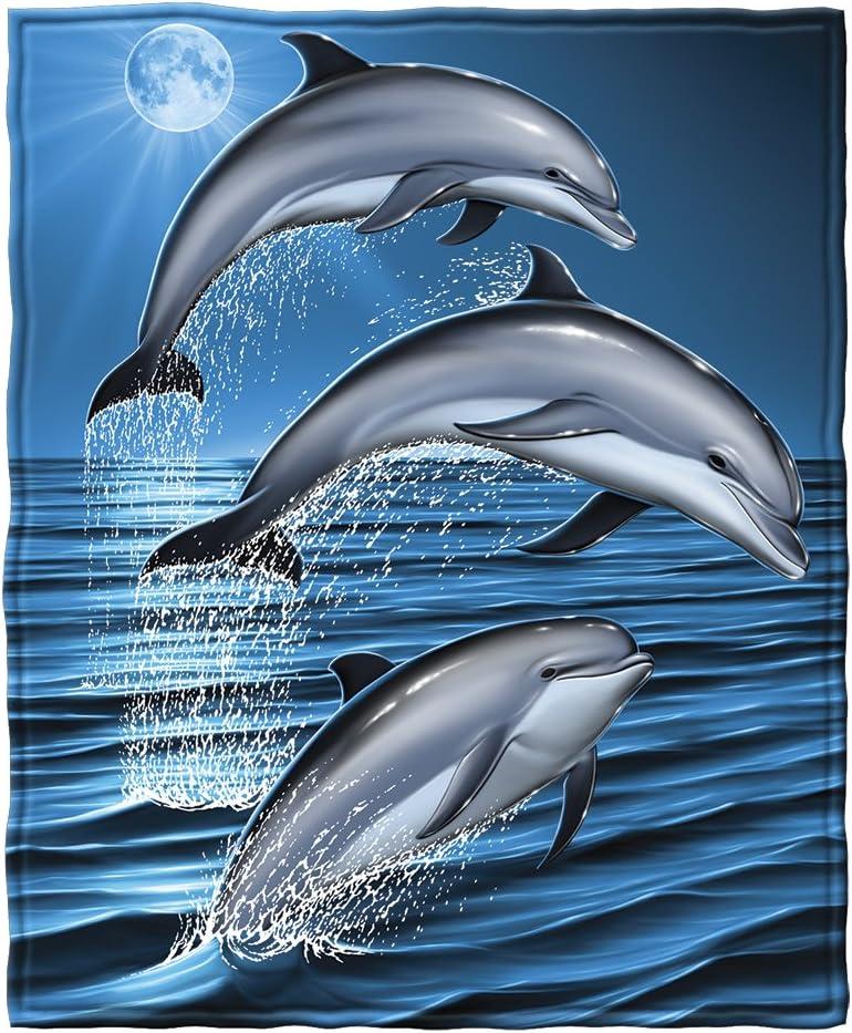 11. Dolphins Super Soft Fleece Throw Blanket