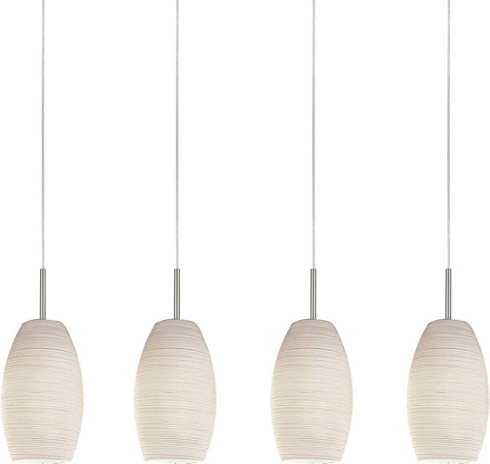 Eglo batista 3 , lampadario a sospensione , in acciaio e vetro 97587