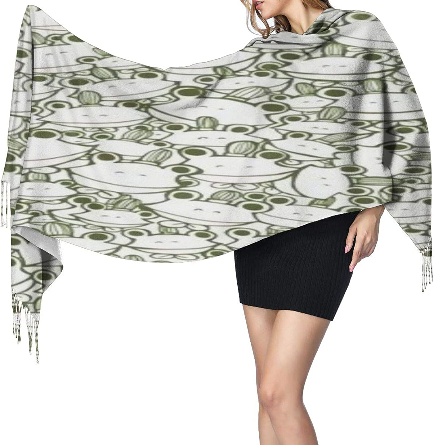 Cashmere fringed scarf Cute frog winter extra large scarf