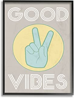 The Stupell Home Décor Collection Good Vibes Peace Hand Framed Giclee Texturized Art, 11 x 14, Green