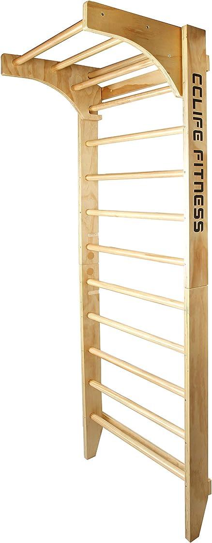 Scala svedese spalliera ginnastica per bambini e adulti | in legno| 220 x 80 x 57cm | fino a 100 kg cclife DSPWD002V