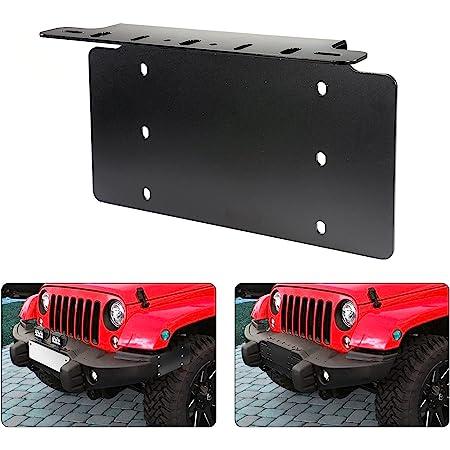 AUXMART License Plate Mounting Bracket Front Bumper LED Light Bar License Plate Bracket Holder Fit for Most Trucks, Pickups, SUV, Jeep, 4x4, Cars