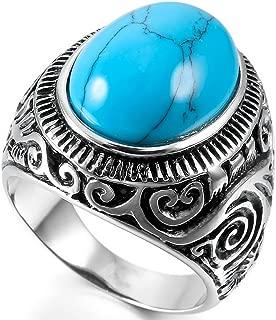 INBLUE Men's Stainless Steel Ring Agate Silver Tone Black