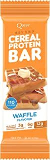 Quest Nutrition Beyond Cereal Protein Bar, Waffle Flavor, 12g Protein, 3g Net Carbs, 110 Cals, 1.34oz Bar, 15 Count, Break...