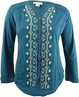 Style & Co. Plus Size Embroidered Peasant Top