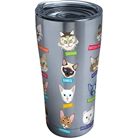 Tervis Flat Art Cats Stainless Steel Tumbler With Clear And Black Hammer Lid 20oz Silver Tumblers Water Glasses