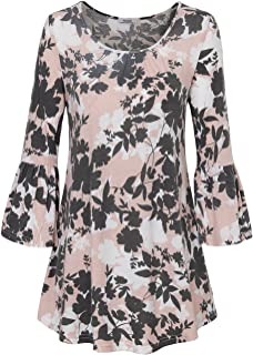 Youtalia Womens Scoop Neck 3/4 Bell Sleeve Blouse Casual Floral Print Tunic Shirts
