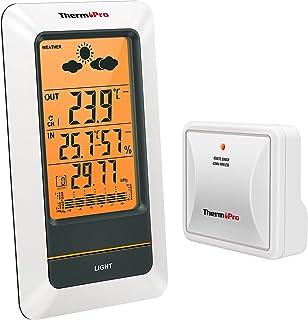 ThermoPro TP67 Station Météo sans Fil Thermomètre Intérieur Extérieur Rechargeable Hygromètre Baromètre Numérique Indicate...