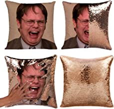 Mermaid Throw Pillow Cover Magic Reversible Sequin Cushion Cover Decorative Pillowcase That Change Color (L The Office-Gold Sequins)