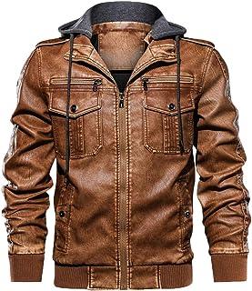 Faux en Cuir Veste Hommes Hiver Casual Couleur Unie Veste Zipper /À Manches Longues Manteaux Tops Hommes Veste Matelass/ée Blouses